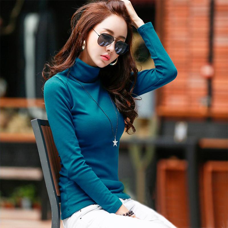 秋冬高领打底衫 韩版女装长袖t恤