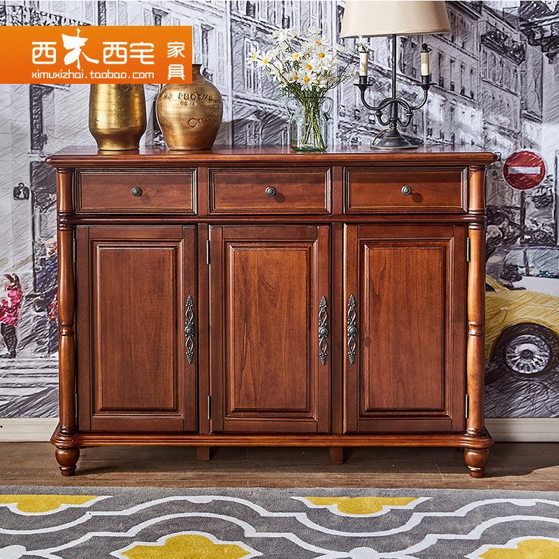 西木西宅家具美式乡村实木三门鞋柜XG801