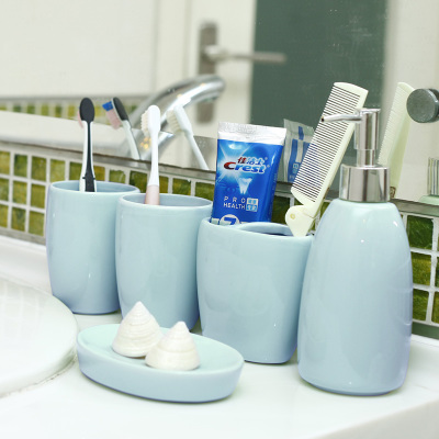 Want to home European ceramic bathroom five sets of toilet bathroom supplies suite brushing cup washing suit