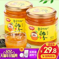 [送杯勺]福事多蜂蜜柚子茶500g*2瓶 韩国风味蜜炼水果茶酱冲饮品
