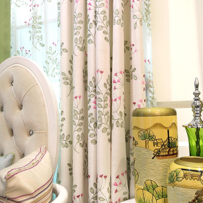 布一堂中式窗帘棉麻绣花布料cl606