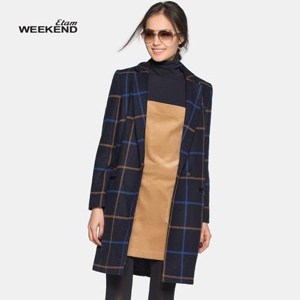 【艾格】格纹长款羊毛大衣