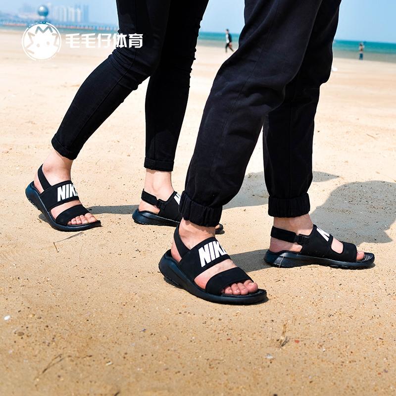 7b03ae5298d4 NIKE TANJUN SANDALS black and white ninja sandals beach slippers female  male couple models 882694- ...