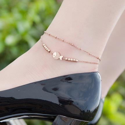 唯酷日韩版亲嘴鱼镀18K玫瑰金彩金磨砂小鱼脚链女时尚钛钢配饰品