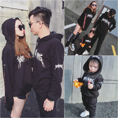 Komori family fitted sweater 2017 spring and autumn new mother and child Korean loose hooded tops wild boy costume
