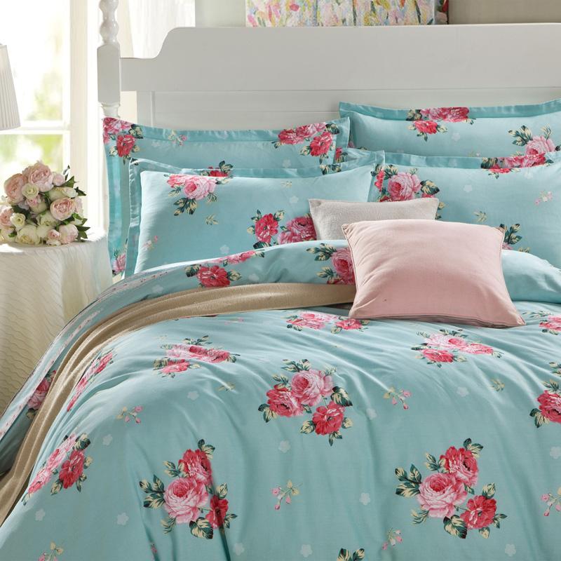 纯棉双人床上用品四件套全棉1.5米床笠1.8m被套2.0床单人三4件套3