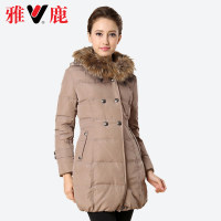 yaloo雅鹿秋冬女装貉子毛领保暖纯色外套修身中长款羽绒服YN2049B