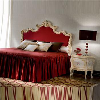 斐然实木红色布艺双人床bp163
