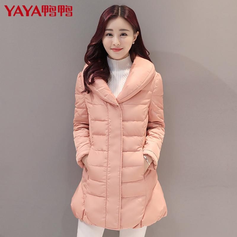 鸭鸭女装冬装新款中长款羽绒服女青果领显瘦纯色潮B-5426产品展示图4