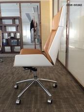 Кресло для персонала 欢乐颂同款曲木真皮高背经理职员会议室办公电脑椅老板书房阅读椅