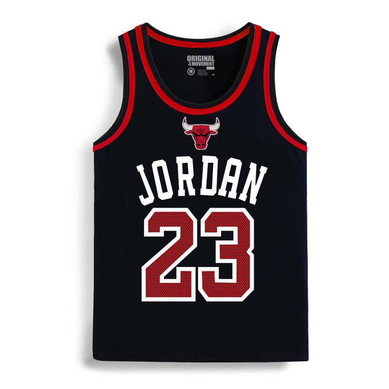 潮牌篮球男士背心宽松运动砍袖无袖t恤23号休闲汗背心上衣服