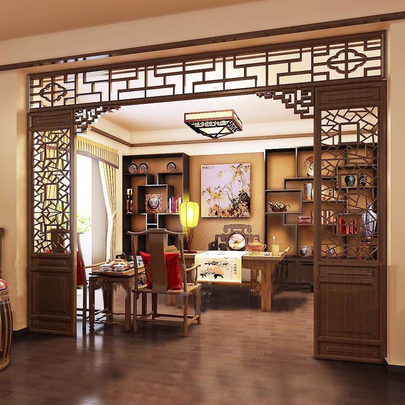 【小毛驴俞氏官网】东阳木雕中式仿古门窗玄关背景墙