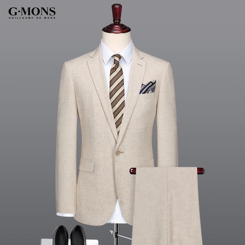 吉约蒙西服套装男士商务休闲结婚西装半里正装米黄色修身夏季薄款