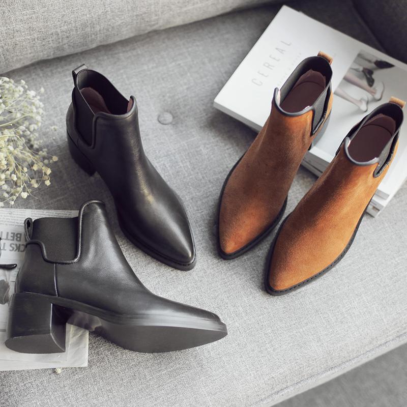 马丁靴女英伦风潮尖头真皮粗跟高春秋冬季单靴子加绒切尔西短靴女