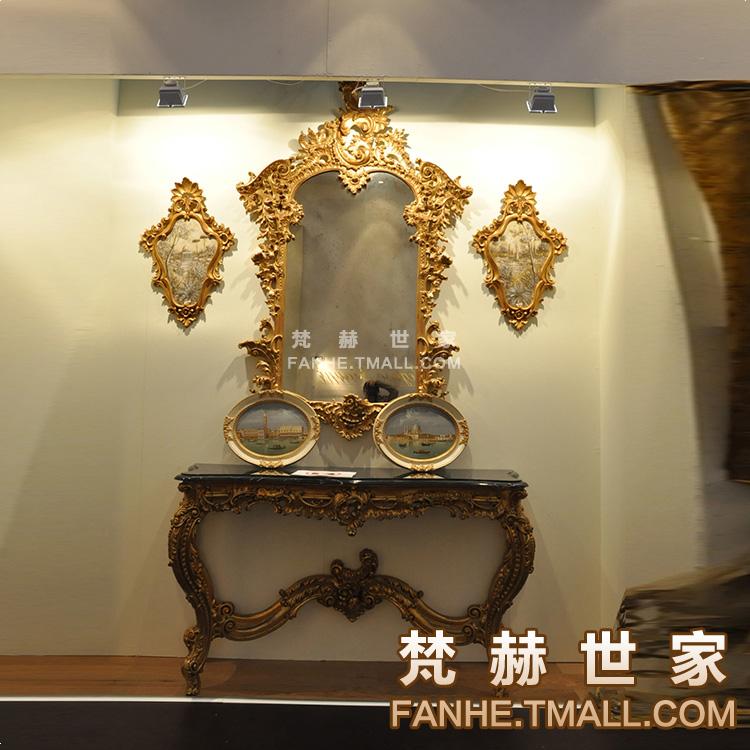 梵赫实木雕花大理石面装饰台f7021