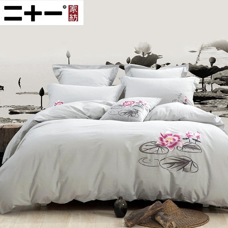 二十一棉麻四件套床上用品21222H