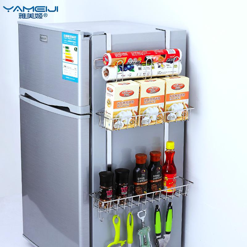 厨房置物架免打孔 冰箱置物架 厨房调料置物架 调味品收纳架壁挂