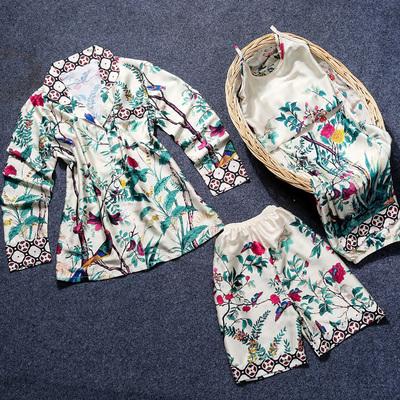 梦舒绵刘涛安迪同款睡衣女夏季冰丝绸四件套装家居服春秋