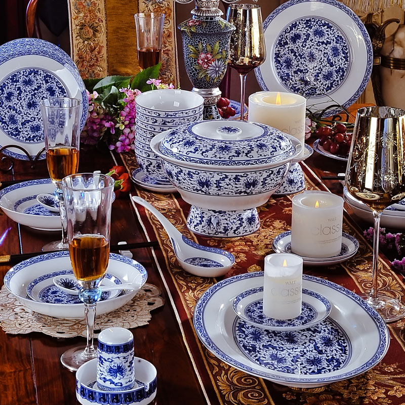 青花餐具套装56头 景德镇骨瓷碗碟碗盘套装家用