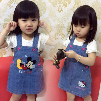2016 new small girl strap cowboy skirt female baby Korean cartoon Mickey Kids summer child skirt
