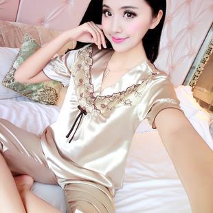 睡衣女夏季性感短袖套装夏天韩版薄款冰丝丝绸家居服可爱大码蕾丝
