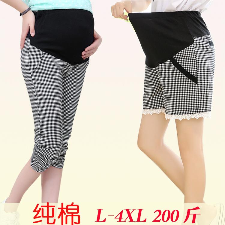 春夏季薄孕妇装时尚外出托腹五分短裤七分休闲格子裤子纯棉加大码