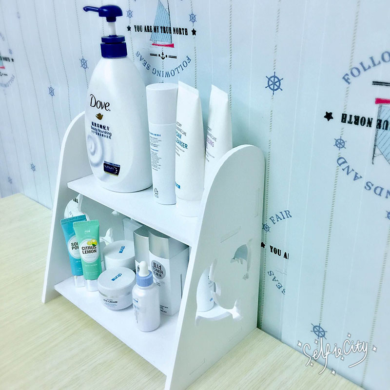 印迪斯卫生间洗手台置物架木质桌面整理架浴室洗漱台化妆品收纳架