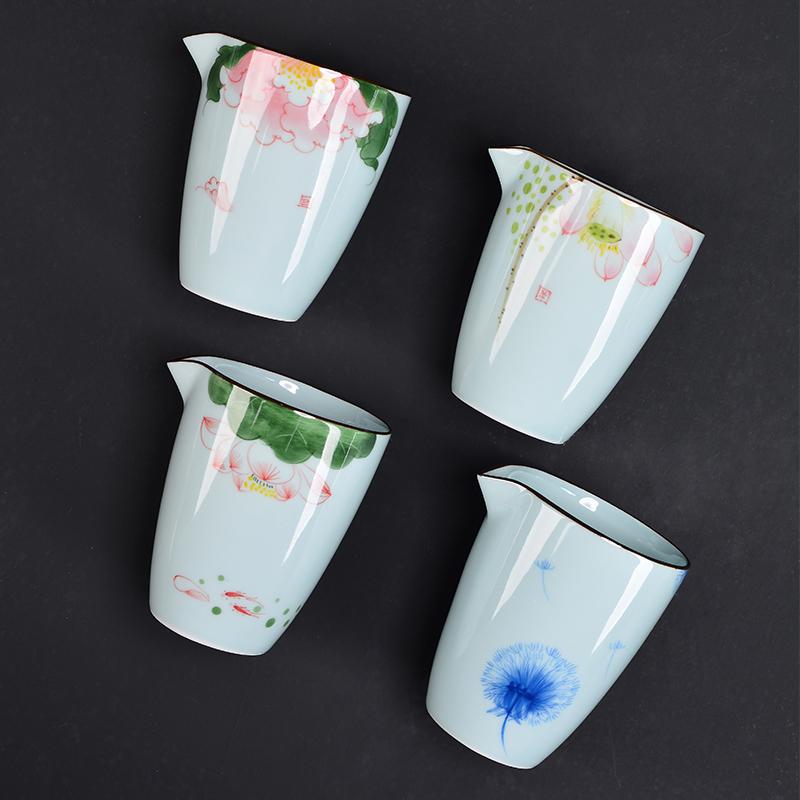 肖字和德龙泉青瓷手绘公道杯荷花-青瓷手绘公道杯
