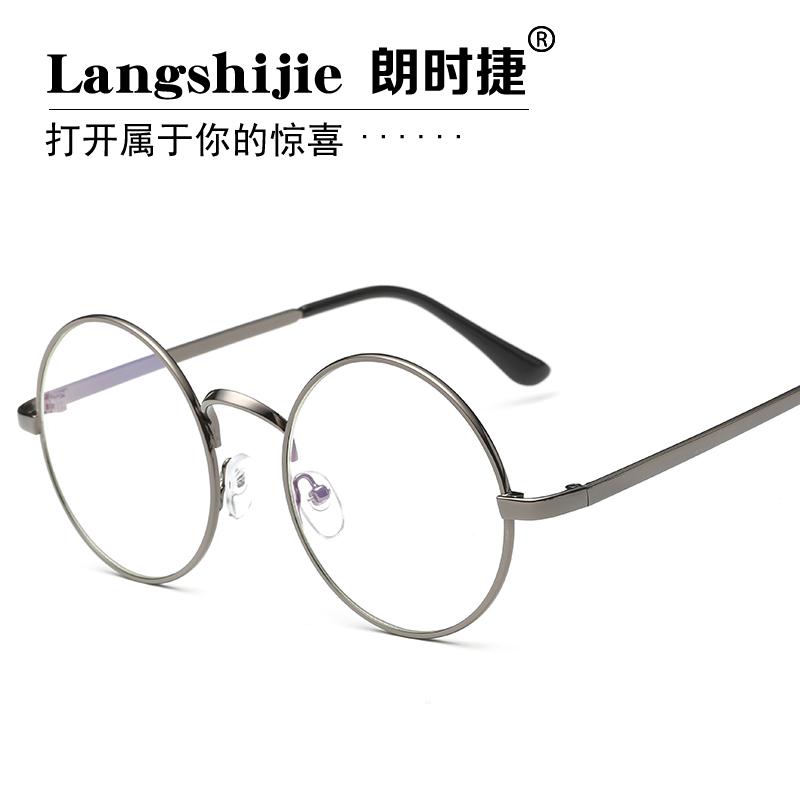 复古眼镜框男款潮韩版圆形超轻近视眼镜架女全框金属平光镜防辐射