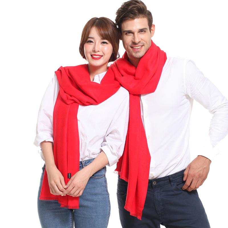 大红色中国红本命年男女围巾披肩同学会年会活动来图定制logo包邮