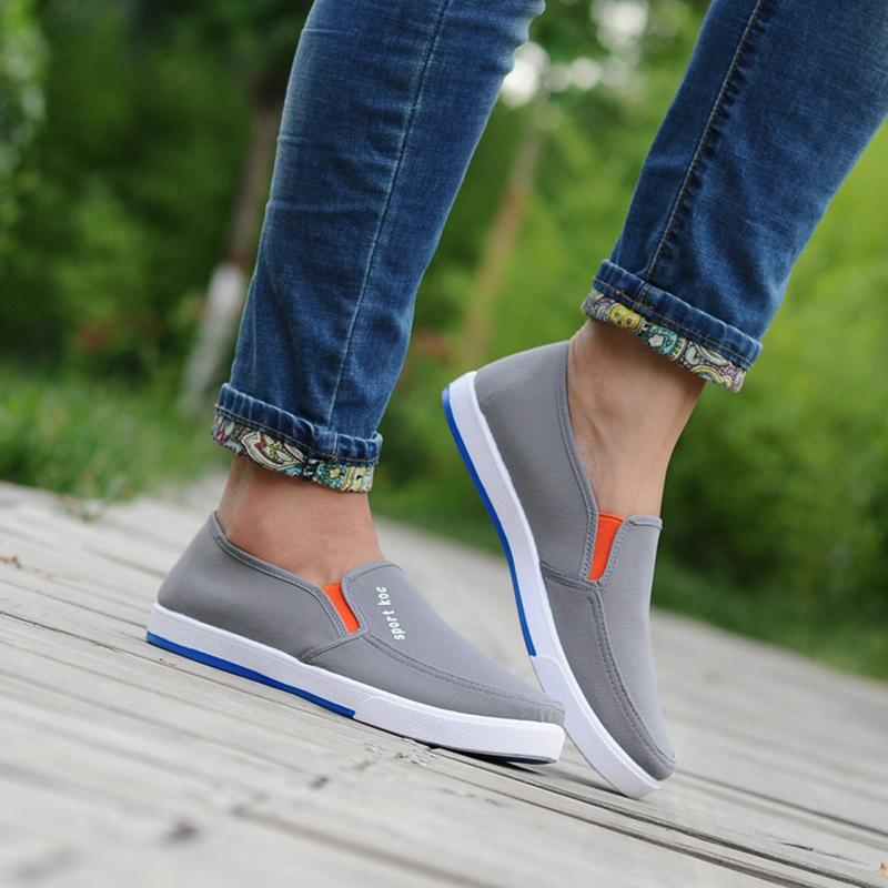 夏季新款透气帆布鞋子男鞋韩版休闲运动板鞋套脚乐福鞋时尚潮鞋