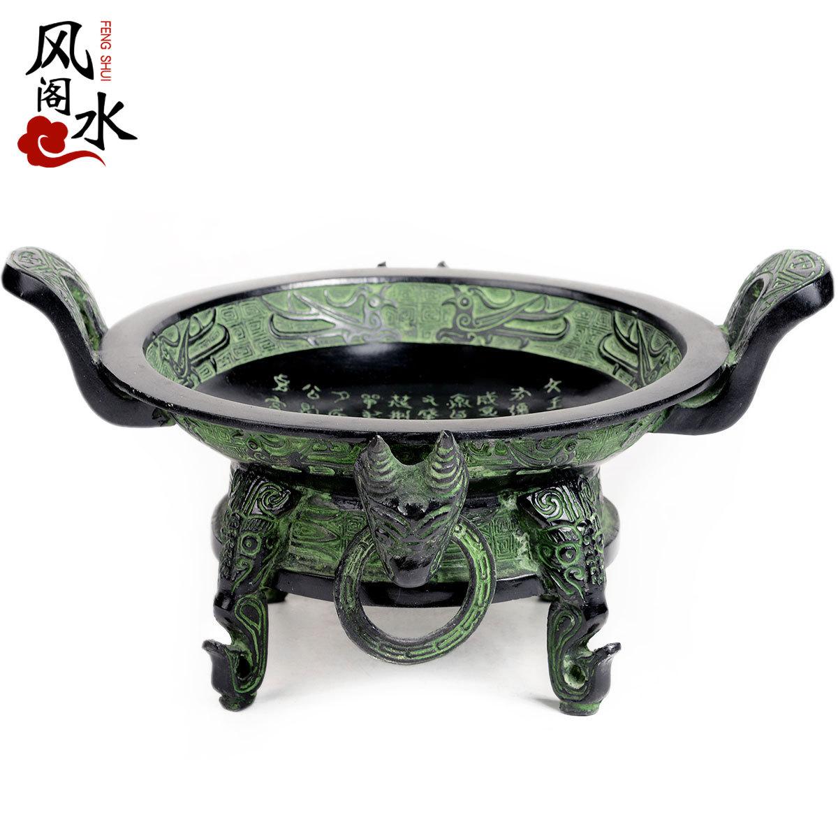 风水阁青铜器仿古宝盆摆件15081