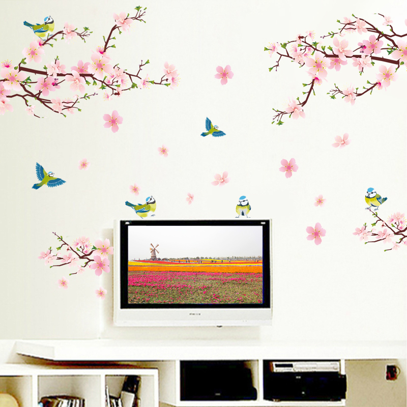 Removable peach bird living room bedroom self adhesive wallpaper sticker television sofa background wall dormitory wall sticker