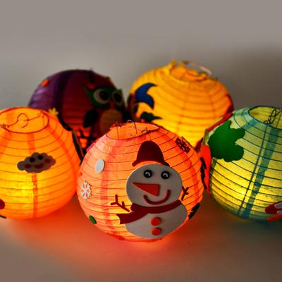 儿童可爱纸灯笼创意彩纸diy美术手工制作材料包手提小灯贴画玩具