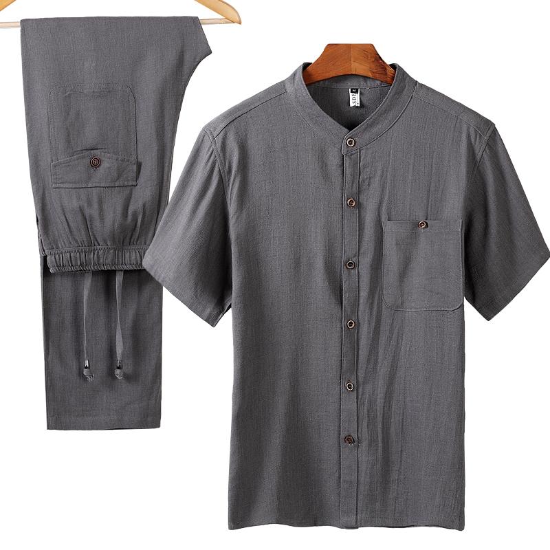 中国风爸爸休闲亚麻套装唐装男短袖夏季薄款中老年男宽松棉麻汉服