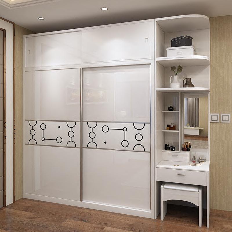 衣柜简约现代经济型卧室推拉门整体衣柜收纳柜子组装板式衣帽间