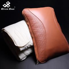 汽车创意可拆洗两用真皮空调被车用靠垫腰靠牛皮办公室被枕