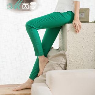 茵曼修身休闲裤女铅笔裤九分裤小脚裤