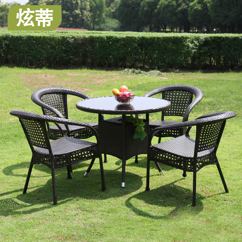 Outdoor tables and chairs wicker chair three-piece furniture.