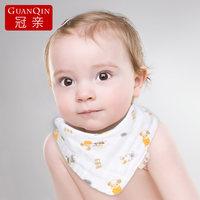 冠亲婴儿三角巾 纯棉纱布婴幼儿口水巾 宝宝围嘴 新生儿头巾6条装