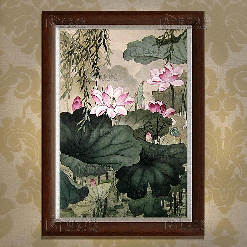 有框画现代书房装饰画挂画抽象荷花图风景玄关走廊手绘油画yyf075