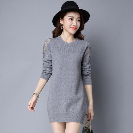 新款2017春秋中长款毛衣裙女宽松套头韩版蕾丝时尚冬季打底衫长袖