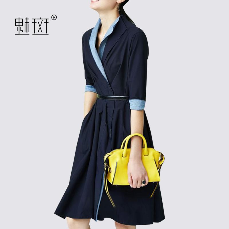 魅斑春季名媛连衣裙2018新款女装中袖收腰显瘦中长款气质女裙子