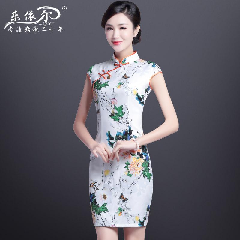 夏季改良旗袍连衣裙中裙中式复古修身日常少女立领礼服旗袍连衣裙