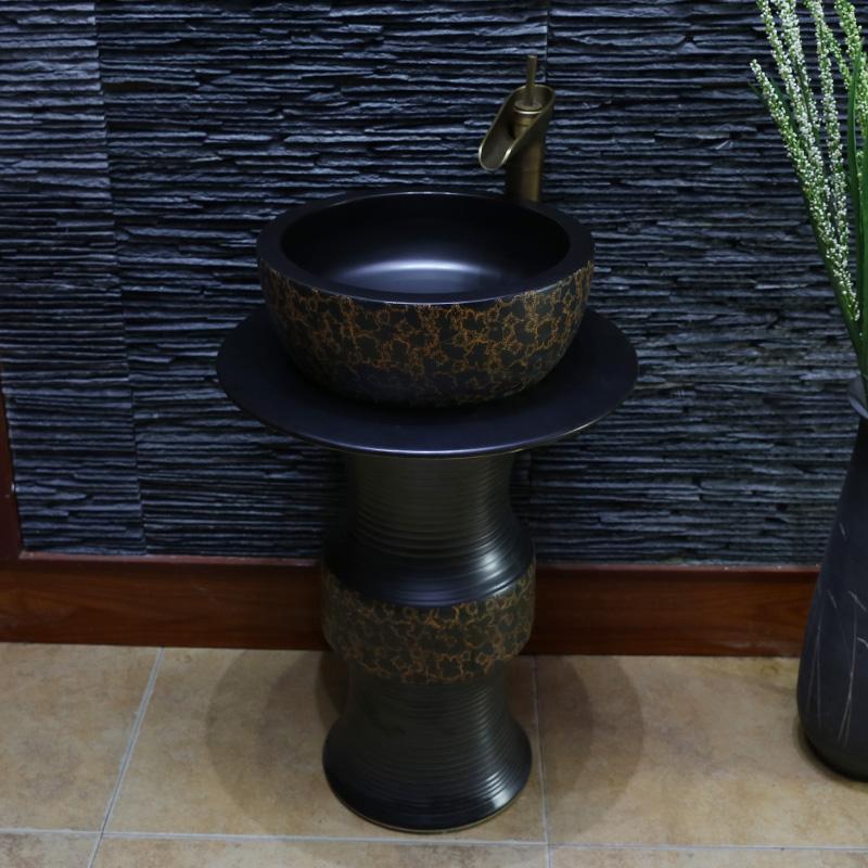 景焱景德镇卫浴手绘立柱台盆面盆JY-1039