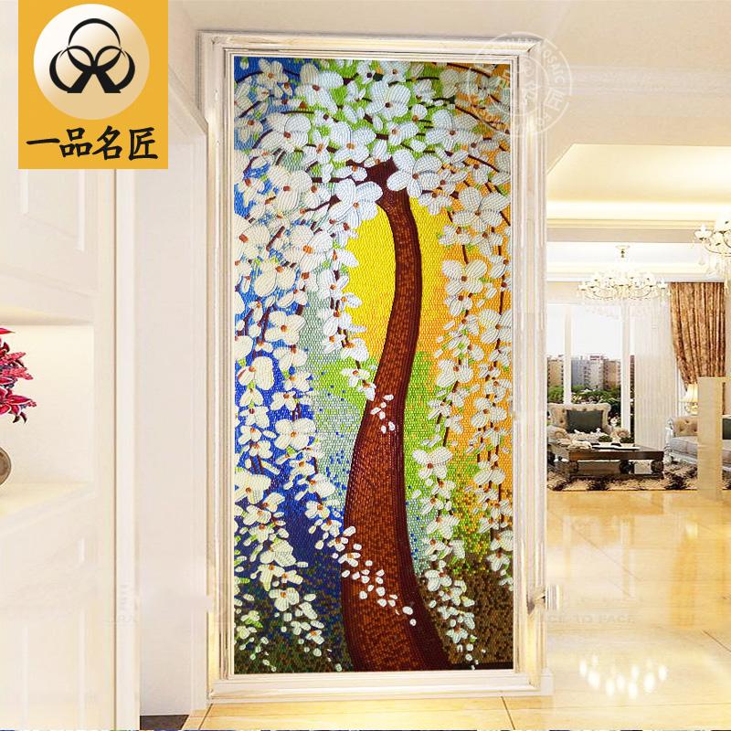 七彩玻璃发财树马赛克拼图剪画剪花 玄关过道餐厅背景墙