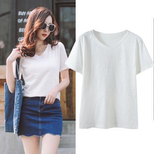 短袖T恤女夏装2017新款修身显瘦V领纯色韩版百搭纯棉学生体恤上衣