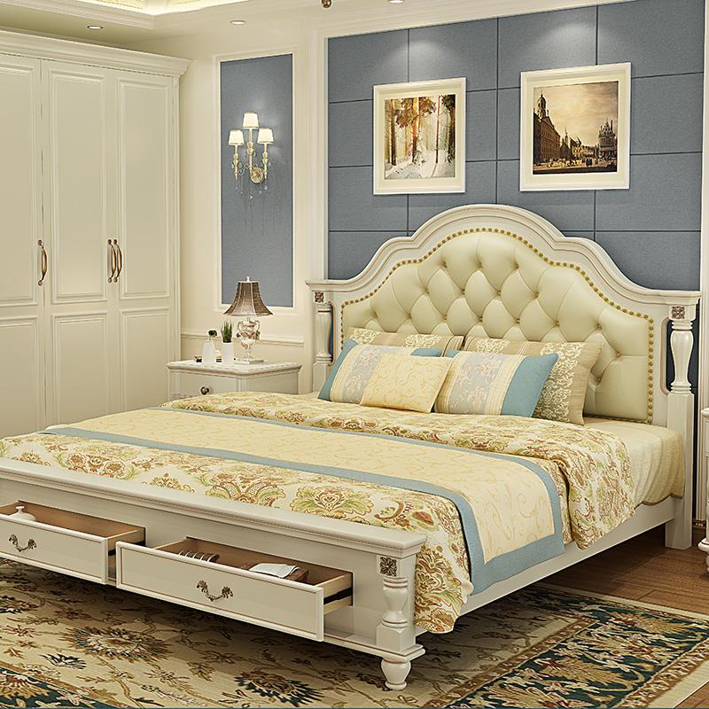 美式床实木床1.8米现代简约欧式床双人床主卧简欧床简欧风格家具