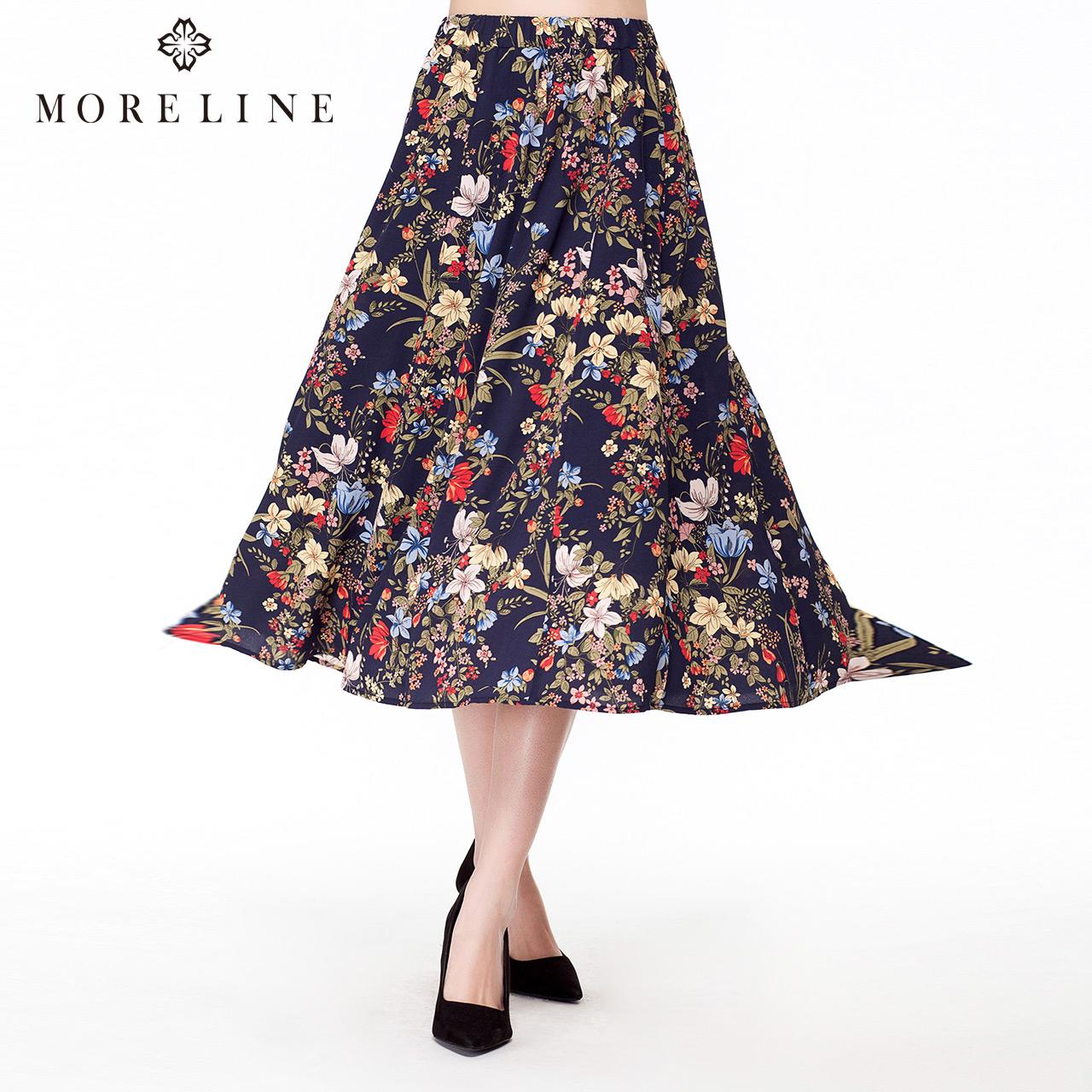 商场同款MORELINE沐兰春季时尚百搭印花女长裙半身裙 明星同款
