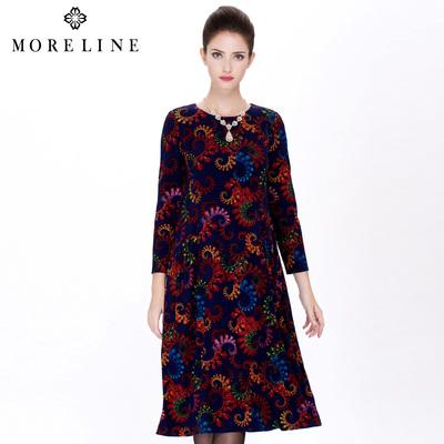 商场同款MORELINE沐兰春季新品欧美宽松复古印花连衣裙1120563